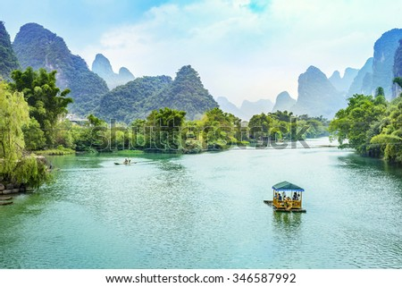 Landscape of Guilin, Li River and Karst mountains. Located in Yangshuo County, Guilin City, Guangxi Province, China. - stock photo