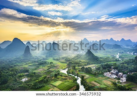 Landscape of Guilin, Li River and Karst mountains. Located near Yangshuo County, Guilin City, Guangxi Province, China. - stock photo