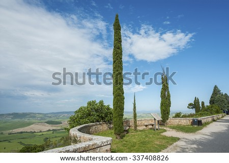 Landscape of historical village Pienza, Val d'Orcia, Tuscany, Italy - stock photo