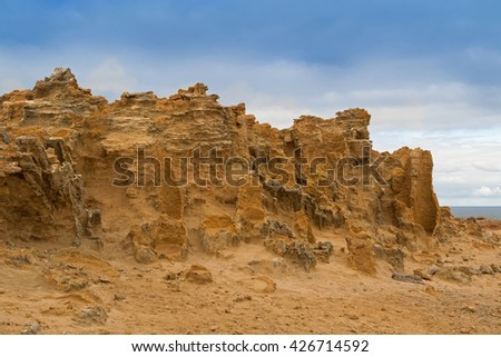 Landscape of hollow tubes of limestone, petrified trunk rocks against blue sky at Petrified Forest Walk, Cape Bridgewater in Victoria, Australia - stock photo