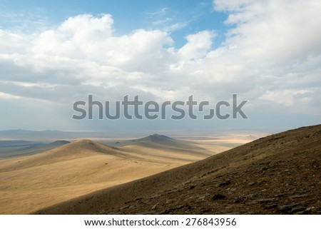 Landscape of Hustai National Park, Mongolia - stock photo