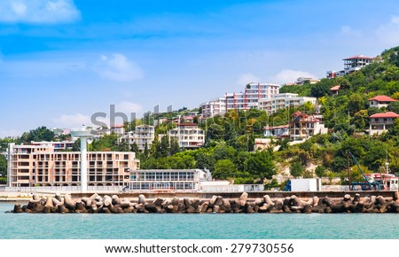 Landscape of Kavarna, coastal town and seaside resort in northeastern Bulgaria, Black Sea coast. Entrance to the port  - stock photo