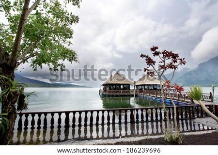 Landscape of Lake Batur at Bali island, Indonesia - stock photo
