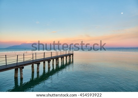 Landscape of Lake Garda, View from Sirmione in Lombardy, Italy.