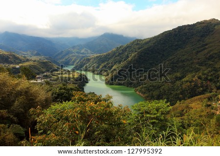 Landscape of lake in mountains in Taiwan. - stock photo