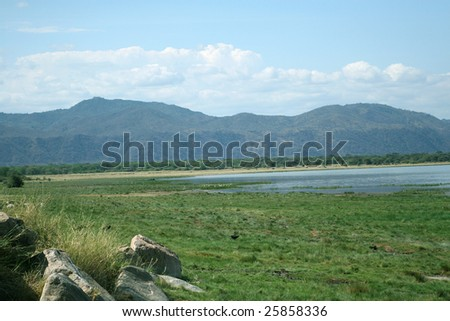 Landscape of Lake Manyara National Park, Tanzania - stock photo