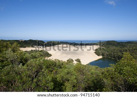 Landscape of Lake Wabby in Fraser Island - stock photo