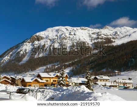 landscape of Livigno in winter season - stock photo