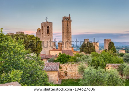 landscape of medieval town in Tuscany, Italy - towers of San Gimignano, ancient italian village  - stock photo