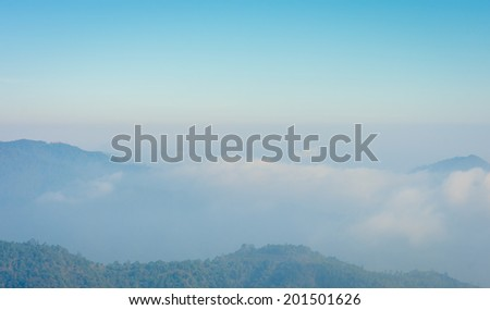 Landscape of mountain nature with cloudy sky on high winter mountain thailand