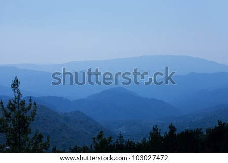 landscape of mountains at sunrise