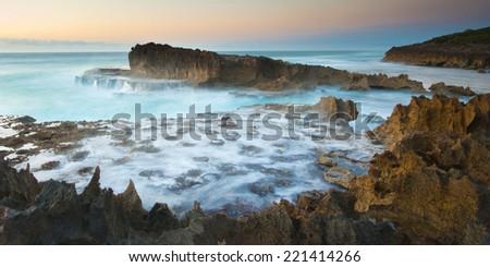 Landscape of Mozambique rocky shoreline - stock photo