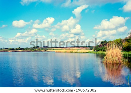 Landscape of natural lake in Serbia - stock photo
