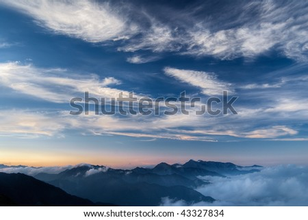 Landscape of nature, beautiful mountain and clouds.