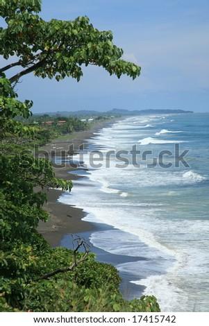 Landscape of Pacific beach in Costa Rica - stock photo