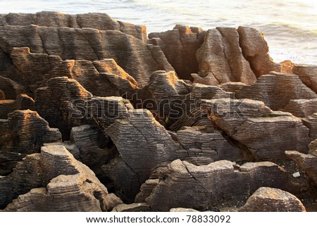 landscape of Pancake grand canyon rock at west coast beach New Zealand - stock photo