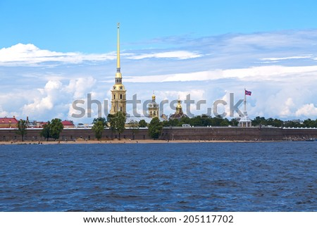 Landscape of Peter and Paul Fortress in Saint Petersburg - stock photo