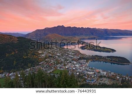 landscape of queenstown region in dusk , New Zealand - stock photo