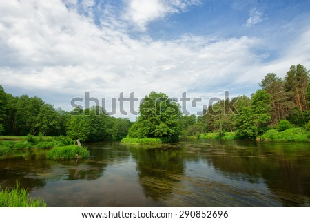 Landscape of river coast. Forest landscape - stock photo
