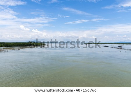 Landscape of river/lake and forest with blue sky background in Thailand.