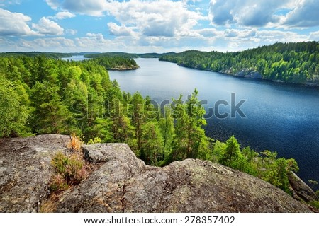 Landscape of Saimaa lake from above, Finland - stock photo