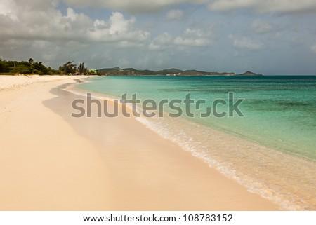 Landscape of Sandy Tropical Caribbean Runaway Beach Antigua - stock photo