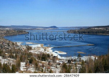 landscape of siberian taiga - stock photo