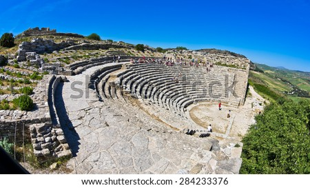 Landscape of Sicily with ancient greek theater at Segesta, Italy - stock photo