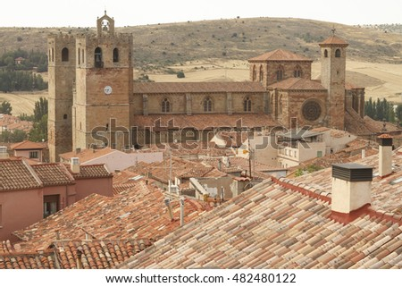 Landscape of Siguenza Cathedral, in Siguenza, Guadalajara. Spain.