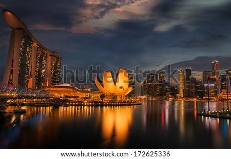 Landscape of Singapore city  - stock photo