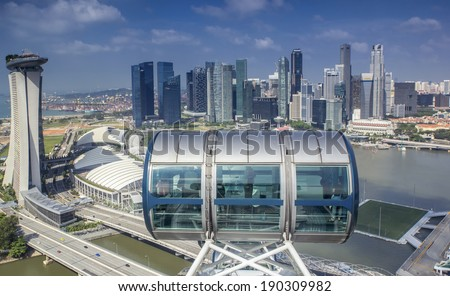 Landscape of Singapore city from top of Singapore flyer building. - stock photo