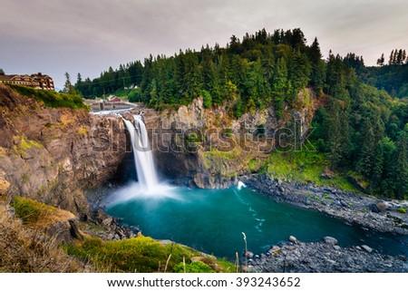 Landscape of Snoqualmie Falls in Washington State, USA. Washington State is a state in the Pacific Northwest.The Washington state's largest city is Seattle.This is one landmark of Washington State - stock photo