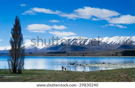 landscape of snow mountain and lake, New Zealand. - stock photo