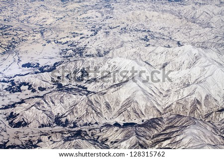 Landscape of snow mountains in Japan near Tokyo, aerial view - stock photo