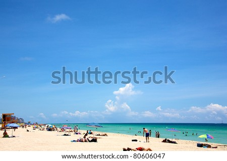 Landscape of South Beach in Miami Florida on a sunny summer day - stock photo