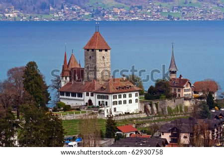Landscape of Spiez Church with Lake of Thun from Train Station, Switzerland