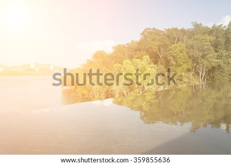 Landscape of Sun Moon Lake scenery with reflection in Taiwan, Asia. - stock photo