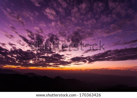 Landscape of sunset over mountains