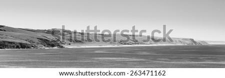 Landscape of the Australian coastline along South Australia's Fleurieu Peninsula in black and white - stock photo