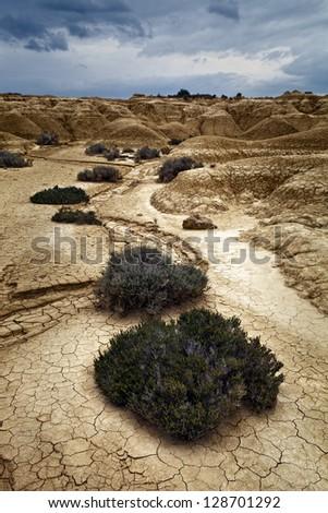 Landscape of the Bardenas, Navarra, Spain - stock photo