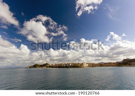 landscape of the beautiful city of Corfu in Greece