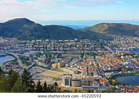 Landscape of the Bergen city taken in Norway, September - stock photo
