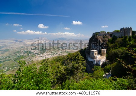 Landscape of the Erice, Sicily, Italy. - stock photo