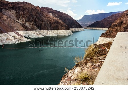 Landscape of the Lake Mead at Hoover Dam. Capture taken at the Arizona - Nevada border. - stock photo