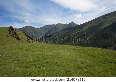 landscape of The mount and sky of spanish pyrenees - stock photo