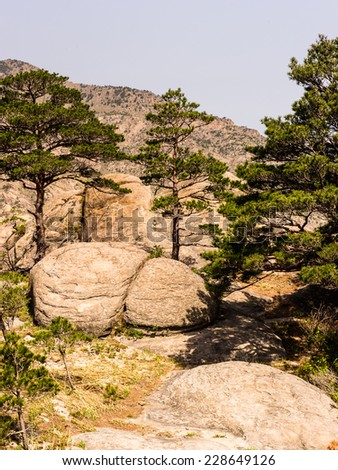 Landscape of the Mount Kumgang (Diamond Mountain) of the Mount Kumgang Tourist Region in North Korea