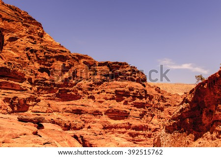 Landscape of the mountains in Petra, Jordan