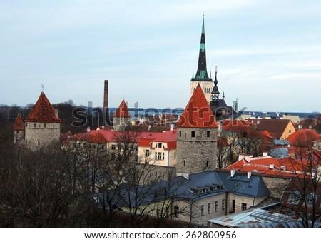Landscape of the Old Tallinn aka Vana Tallinn, Estonia - stock photo