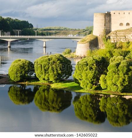 Landscape of the river Narova - stock photo