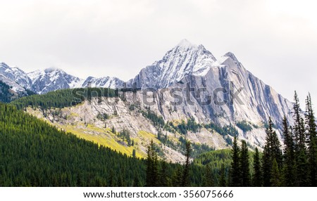 landscape of the rocky mountains of alberta canada during a sunny day